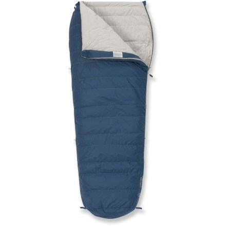 Camp and Hike Free your feet from the tight fit of your mummy bag and switch to the roomy Sierra Designs Lamarck 30 men's down sleeping bag. Semi-rectangular shape with ergonomic footbox enhances comfort by giving your feet more space than a mummy bag but holds more warmth around shoulders than a rectangular bag. 550-fill-power down insulation provides cozy warmth; trapezoidal baffle construction keeps down evenly distributed to prevent cold spots. Ripstop nylon shell guards against the wear and tear of camping; polyester lining feels soft against skin. Pad loops provide attachment points to keep your sleeping bag and pad together to avoid rolling off onto the cold ground (straps not included). Suited for temperatures as cold as 30degF, -1degC. Includes stuff sack and storage bag. The Sierra Designs Lamarck sleeping bag accommodates heights up to 6 ft. tall. Closeout. - $83.73
