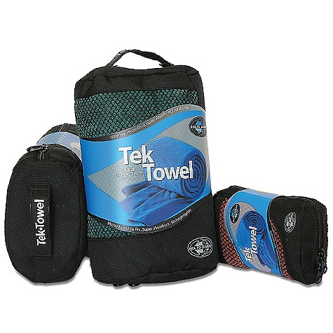 The Sea to Summit Tek Towel. The Tek Towel is the most luxurious-feeling microfiber towel on the market. Super absorbent and quick drying, this towel is ideal for travel as well as other activities including: camping, boating, going to the gym, pool or beach or drying the dogs off after a swim. The Tek Towels come packaged in a zippered mesh pouch. Features of the Sea to Summit Tek Towel Microfiber fabric that has a natural terry cloth feel The most absorbent towel available Packaged in a oval-shaped zippered mesh pouch Snap-on hang loop and rounded corners Machine washable Greater surface Area means fast drying time - $16.95