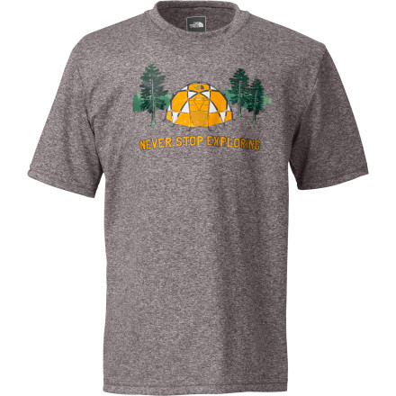 Camp and Hike Your boy has always been an explorer at heart, so it makes sense that he'll like The North Face Boys' Dome Tent Reaxion T-Shirt. In addition to being soft and lightweight, the VaporWick polyester fabric wicks away moisture to keep him dry and comfortable during all his summertime adventures. - $21.95