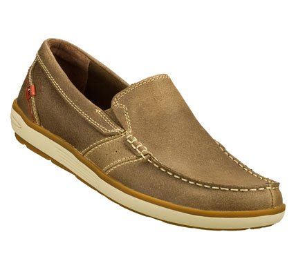 Deck your feet out in style and comfort with the SKECHERS Relaxed Fit: Naven - Fargo shoe.  Smooth leather upper in a slip on casual boat loafer with stitching and overlay accents. - $69.00