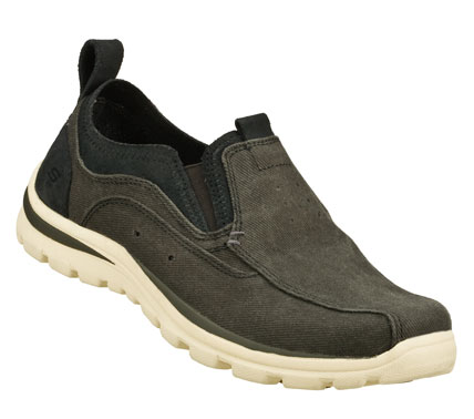 Cool and laid-back style rules in the SKECHERS Relaxed Fit(R): Superior - Morton shoe.  Soft woven canvas fabric and soft suede upper in a slip on sporty casual comfort loafer with stitching and overlay accents. Memory Foam insole. - $64.00