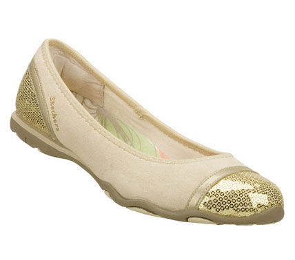 Entertainment Fashionable style gets served with the SKECHERS Jubilee-Oh Snap! shoe.  Soft suede upper in a slip on casual dressy ballet flat with glittering sequin toe and heel panels; metallic smooth leather trim and slip on design. - $48.00