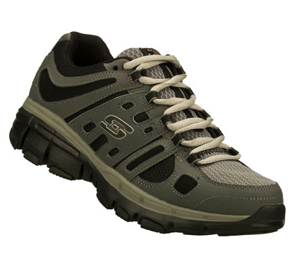 Do better than your personal best in the SKECHERS Bravos shoe.  Trubuck leather; synthetic and mesh fabric upper in a lace up athletic training sneaker with stitching and overlay accents. - $55.00