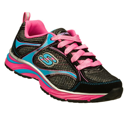 Fun colors and sporty style mix in the SKECHERS Lite Swirlz shoe.  Smooth leather; synthetic and mesh fabric upper in a lace up athletic sporty training sneaker with stitching and overlay accents. - $42.00