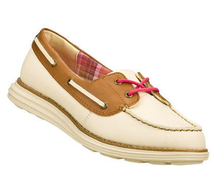 Fitness Your yacht awaits when you wear the SKECHERS Groove Lite - Onasis shoe.  Smooth faux leather upper in a two eye lace up two-tone casual boat shoe with stitching and overlay accents. - $62.00
