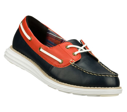Your yacht awaits when you wear the SKECHERS Groove Lite - Onasis shoe.  Smooth faux leather upper in a two eye lace up two-tone casual boat shoe with stitching and overlay accents. - $62.00
