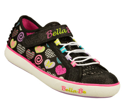 The beat goes on and on in the SKECHERS Bella Ballerina: Curtsies - Sugarspin shoe.  Soft satiny fabric upper with colorful heart print in a slip on casual bungee laced sneaker with stitching and overlay accents.  Fun spinning disk feature on sole. - $52.00