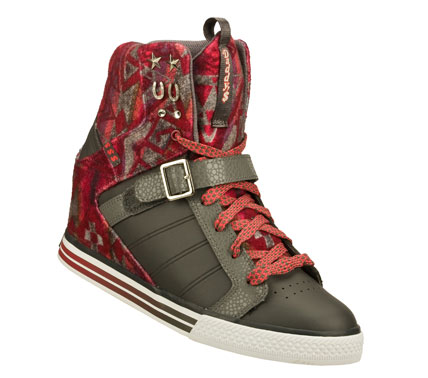 Entertainment Add a kick of style to any look with the Daddy's Money: Cha-ching - Snuggle shoe.  Smooth leather; synthetic and soft woven blanket fabric upper in a lace up casual high top hidden wedge sneaker with stitching and overlay accents. - $52.50