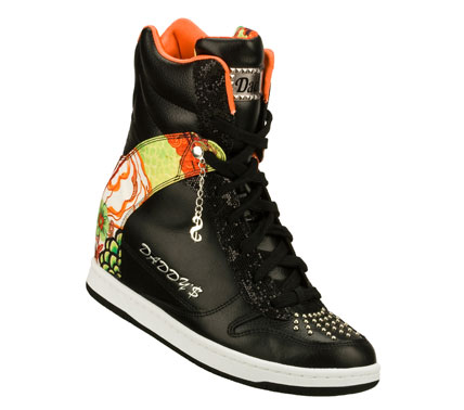 Entertainment Let them all flock to your cool style wearing the Daddy's Money: Moolah - Birds of a Feather shoe.  Smooth leather; synthetic and colorful fabric upper in a lace up casual high top hidden wedge sneaker with stitching and overlay accents. - $41.25