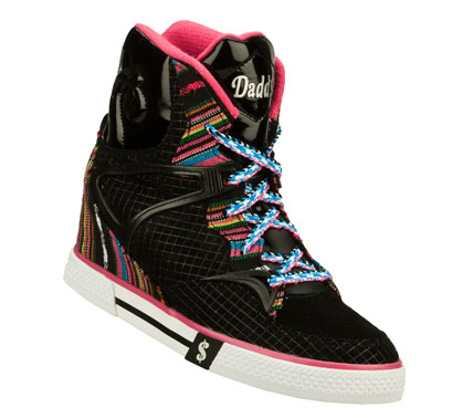 Entertainment Far-out style with fun color accents comes in the Daddy's Money: Cha-ching - Hippie Chick shoe.  Soft suede; synthetic and striped fabric upper in a lace up casual high top hidden wedge sneaker with stitching and overlay accents. - $41.25