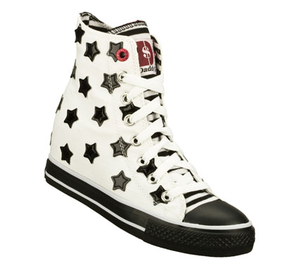 Entertainment Spangle her fun colorful style with the Daddy'$ Money: Gimme - Starry Skies shoe.  Soft woven canvas fabric upper in a lace up casual high top hidden wedge sneaker with stitching and overlay accents. - $40.00