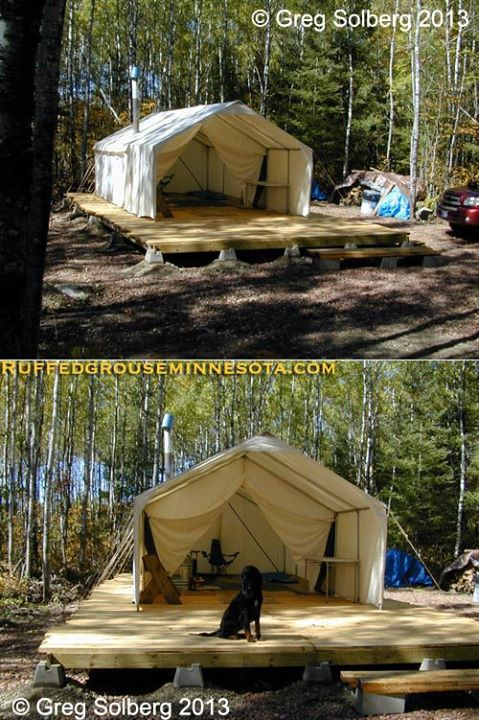Entertainment My friend Greg Solberg from the Ruffed Grouse Twin Cities Chapter sent me these photos of his Minnesota ruffed grouse camp, it seems great minds think alike! Another cabin made of canvas! http://bit.ly/14JfooJ