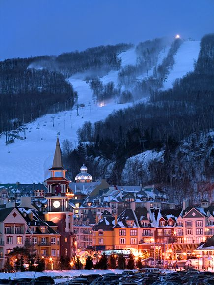 Snowboard Mont Tremblant, Quebec is known for snowboarders looking for European ambiance without the overseas flight.  Best party spot is the Le P'tit Caribou