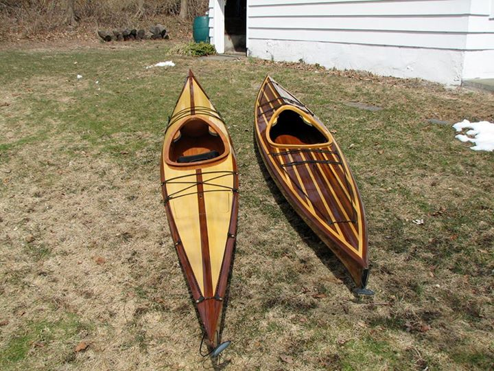 Kayak and Canoe The refinished Shearwater has gone to a new home. The new one, here on the left, and the Auk 14, on the right, are still available
