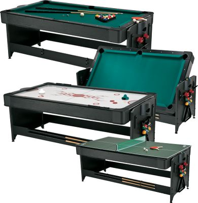 Entertainment Youll flip for this 3-in-1 game table that brings three of the most popular game room games to your home in one convenient package. Play a fast-moving game of air hockey, rotate the table for a leisurely round of pool with friends and family or add the table tennis top to pick up the pace. Other features include: cues, balls, triangle and brush for billiards, goalies and pucks for air hockey, as well as a net, post, paddles and balls for table tennis. The ultimate in sleekness and design, this table comes with a storage rack for easy organization of all accessories. Billiards playing surface has Tetolon cloth, rubber bumpers and drop pockets. Exclusive latch system. 80L x 44W x 32H. - $1,199.99