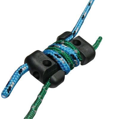 Camp and Hike Eliminate the hassle of knot tying! Secure and attach ropes in nearly any configuration with the highly functional KnotBone Knot Replacement. Uses a simple wrap-and-lock principle to keep your line secure, and because there is nothing to untie, you will save time, effort and energy. Fits cord sizes 2mm-3.5mm. 25-lb. weight limit.Available: Per 4, Per 8. - $7.99