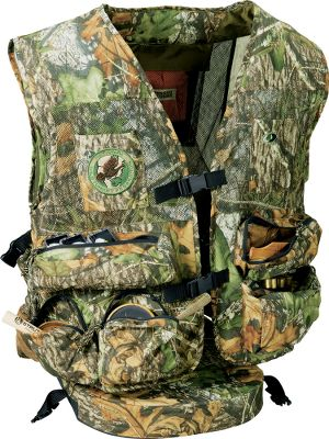 Hunting Constructed of ultralight, breathable Treklite 100% polyester with 23 custom-designed pockets for carrying all of your turkey-hunting accessories. Removable, puncture-resistant, 2-1/2 padded seat cushion and a foam back pad deliver exceptional comfort. Quick-release front closure buckle for easy on and off. Oversized game bag with quick-release buckle for no-hassle cleaning. Bloodproof game bag liner. Imported. Sizes: M/L, XL/3XL. Camo patterns: Mossy Oak Obsession, Realtree APG. - $99.99