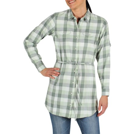 Fitness A twist on the classic plaid shirt, the ExOfficio Pocatello Plaid tunic goes great over jeans or leggings when you're headed out for a latte or running errands around town. Soft, lightweight cotton/polyester blend is naturally breathable and feels great next to skin. Plaid fabric belt allows customizable fit. 2 chest pockets; hidden zippered pocket at right hip; roll-up sleeve tabs. Closeout. - $19.73
