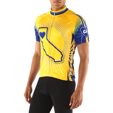 Fitness Eureka! The It's in my Heart California State bike jersey is well-suited to riding in the sun and keeping you cool and comfortable as you proudly display your love of the Golden State. Lightweight, breathable polyester wicks sweat away from your skin and dries quickly, keeping you comfortable while working hard. Full-length front zipper provides ventilation when you need to cool off. Elasticized hem with silicone grip tape keeps the jersey in place while riding; side panels with 4-way stretch promote comfort and full range of movement. The California State bike jersey has 3 rear pockets to easily store small essentials such as ID, energy gels or a spare tube. - $54.93