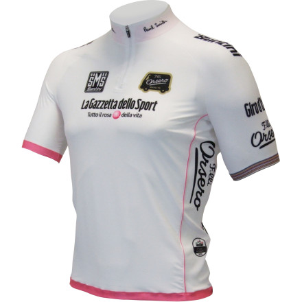 Fitness For riders under the age of 25, there's nothing more beautiful than the white coloring of the Giro's Best Young Rider's jersey. And while this jersey has traditionally been crafted by Santini, the 2013 Giro sees a seemingly unlikely collaboration between the British Sir Paul Smith and the Italian Santini family for its construction. However, after debuting at Milan Fashion Week, the Santini Paul Smith Best Young Rider Jersey has been making waves through both the worlds of cycling and fashion. If you're not familiar with Paul Smith, the name, you're more likely familiar with Paul Smith, the clothing. Over the past 35 years, Paul Smith's menswear has been at the forefront of British fashion, earning him top honors within the industry and a Knighthood to boot. However, accolades aside, Paul Smith's lifelong passion for cycling never diminished. We saw this expressed in 2007 when he designed a jersey in honor of the Tour's start in London. And since then, we've seen a consistent collaboration between Smith and fellow Englishmen, Rapha, and even a 60th anniversary collaboration with Mercian. Moving onto the jersey, though, Paul Smith started the design process with the color itself. And in response to last year's awkward-color-choice-debacle, Smith opted for white body with a pink piping. According to Smith, this color clash is derivative of Warhol's color work, providing a much needed pop to the leader of the points race's jersey. Additionally, Smith achieved a balance between subtlety and prominence for the race sponsor placement along the shoulders, chest, and lower back. And speaking of subtlety, this trait is widely regarded as Paul Smith's trademark. Accordingly, you'll find quiet placements of Paul Smith's signature along the collar and rear hem, as well as his trademark stripes on the left sleeve's cuff. Additionally, the Best Young Rider jersey features a distinctive hand sketched drawing on the side panel that depicts a little cyclist speeding along. - $90.00
