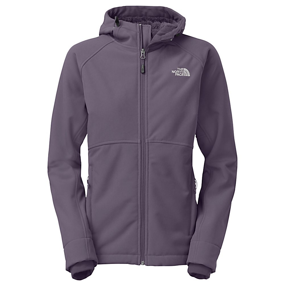 Ski The North Face Powerdome Hoodie Womens Soft Shell Jacket - Putting the soft back in soft shell The North Face Powerdome Hoodie jacket will keep you dry and warm. The plush raschel fleece backer makes this jacket so soft you may never want to take it off. This jacket is made with Polartec fleece that points out the hot and cold zones to make sure you stay warm where you need it the most. There is high-pile fleece in the shoulders and back of the jacket to trap in the warmth without adding extra bulk. A full adjustable, helmet compatible hood on The North Face Powerdome hoodie jacket will keep your dome warm and protected from the elements. A zip chest pocket and two handwarmer pockets will allow you to store any small items you may need while out on the mountain. . Exterior Material: Polartec Windbloc, Insulation Weight: N/A, Taped Seams: None, Waterproof Rating: DWR Finish, Breathability Rating: N/A, Bearing Grade: Recreational, Warranty: Lifetime, Battery Heated: No, Race: No, Type: Softshell, Cut: Regular, Length: Medium, Insulation Type: None (Shell), Breathability: Not Specified, Waterproof Zippers: No, Wind Protection: Yes, Model Year: 2014, Product ID: 318146, Shipping Restriction: This item is not available for shipment outside of the United States., Model Number: A6EAD3R-S, GTIN: 0808390799647 - $149.93