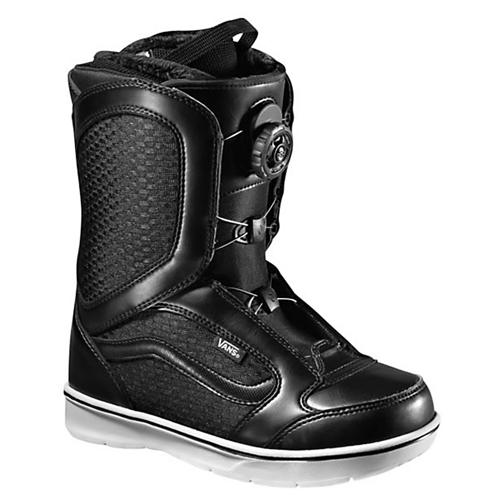 Snowboard Vans Encore Boa Womens Snowboard Boots - The Vans Womens Encore Snowboard Boots are the original and best selling boots in the Vans line and they have only gotten better for 2013. They feature a soft, forgiving flex with the quick and easy Boa Coiler lacing system. This closure system gives you ankle and cable guides along the edge to give you an evenly locked in fit that will have your feet feeling good and will not loosen as the day of shredding goes on. Vans special recipe rubber compound positioned in strategic high-wear and traction areas for added grip and durability. These boots also feature a Pleasure cuff that was designed to allow the cuff of the boot to adjust to your specific calf size to keep the boots comfortable and forgiving on your feet. Full instep articulation on the Vans Encore allows the upper and lower zones of the boots to flex independently to give you one fluid motion. A better fit and comfort is enhanced by the internal web harness and OTW lace lock that gives you a better fit and prevents the liner from moving inside the shell to give you a secure heel hold. Do your feet a favor by slipping on the Vans Encore Snowboard Boots for your fun day of shredding the mountain. Features: Dual-density metatarsal and heel impact relief pads. Material: Dual-density, heat-moldable core, Lacing Style: Boa, Recommended Use: All-Mountain Freestyle, Removable Liner: Yes, Flex: Medium, Warranty: One Year, Intuition Liner: No, Brand Lacing Style: Boa Coiler, Skill Range: Intermediate - Advanced, Model Year: 2 - $119.99