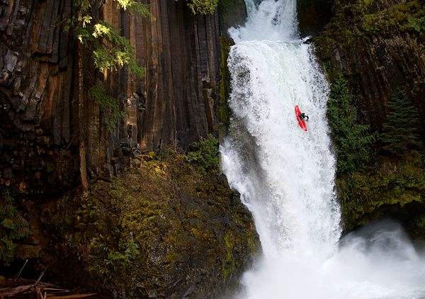 Kayak and Canoe Fred Norquist kayaking 65 feet down Toketee Falls, Oregon