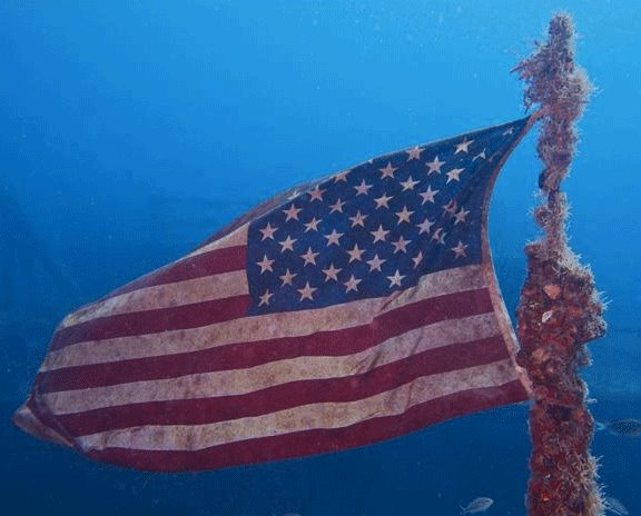 Scuba Happy Memorial Day — and as we remember what the day means, deep gratitude to those who gave their lives to preserve our freedom. (Photo of the flag on the Spiegel Grove, by Floyd Devine, retired naval officer and good friend.) http://bit.ly/13ZMrzj