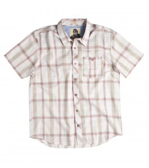 Surf Jack O'Neill David Shirt: 100% cotton oxford plaid short sleeve woven; with enzyme and bio wash.  Features chest pocket; interior seam binding; contrast interior neck yoke; neoprene accents; Jack O'Neill trims and embroideries. - $62.00
