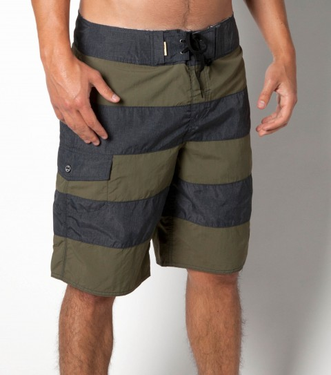Surf Jack O'Neill Homage Boardshorts: nylon/polyester blend heather pieced with quick dry nylon solid; 19'' outseam boardshort with ultrasuede photo real interior waistband. features side button pocket; neoprene accents; Jack O'Neill trims and embroideries. - $35.99