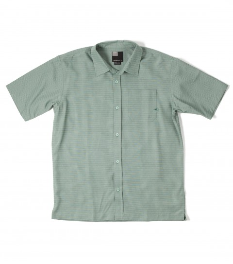 Surf O'Neill Clancy Polynosic Shirt.  Polynosic blend yarn dye slub texture plaid S/S woven with sand wash. Logo embroideries and labels. - $27.99