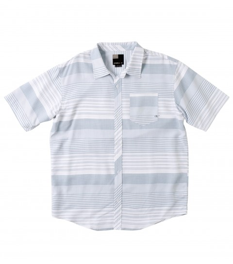 Surf O'Neill Ralston Polynosic Shirt.  Soft touch polynosic blend yarn dye horizontal stripe S/S woven with sand wash. Logo embroideries and labels. - $40.99