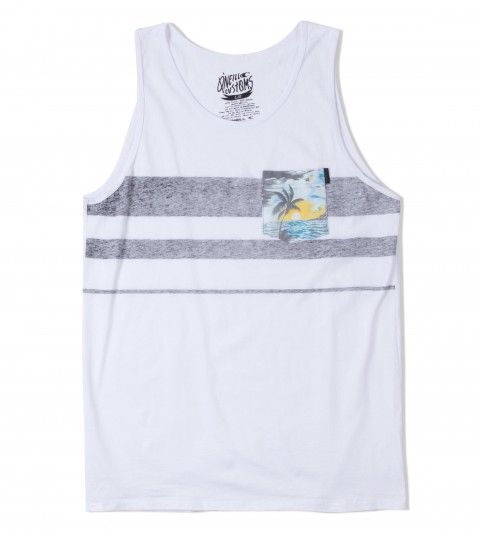 Surf O'Neill Tropicamo Tank.  100% Cotton. 30 singles modern fit tank with softhand reverse screenprinted stripes and attached pocket with softhand screenprint and clip label. - $19.99