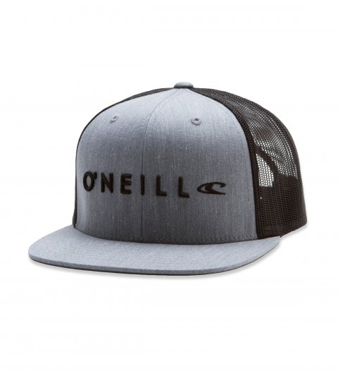 Surf O'Neill Challenged Snapback Hat.  Twill front and visor AJ fit trucker hat with direct puff/satin stitch embroidery detail, rear woven label. - $12.99