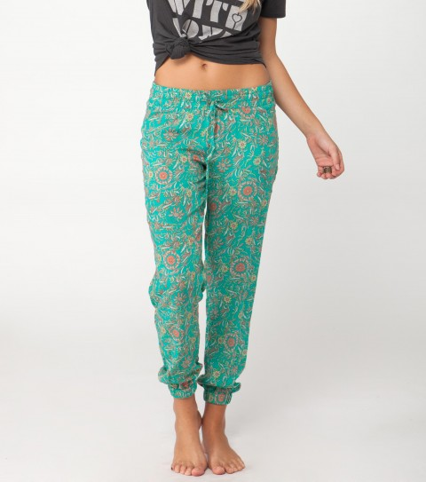 "Surf O'Neill Paso Pants.  100% Viscose printed.  28"" inseam; encased elastic at waistband; encased elastic at bottom leg opening; drawstring at front waistband; logo embroidery. - $34.99"