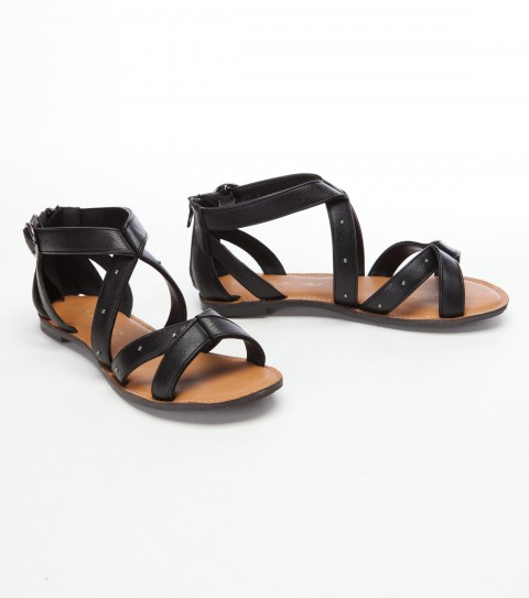 Surf O'Neill Flippin Sandals.  Faux leather upper with turn back detail; metal nail head studs along strap; buckle closure; padded faux leather foot bed; sandal bottom construction. - $22.99