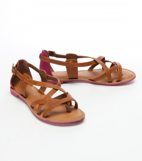 Surf O'Neill Sarah Sandals.  Faux leather upper with buckle closure; contrast color back counter with matching pop sandal bottom; stitch around detail on foot bed. - $22.99