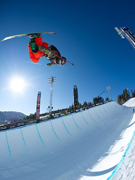 Ski Tucker Perkins on Ski Superpipe, 2012 Winter X Games, Aspen, Colorado