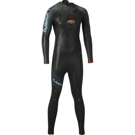 Surf Falling near the middle of the Blueseventy wetsuit line, the Fusion Wetsuit takes the key attributes of both the Helix and Reaction, and combines them into a far more affordable package. You still retain a full Yamamoto neoprene construction, SCS coating, and some of the thinnest, most flexible arms in the business. However, where the suits differ really only comes down to select cell densities and a touch of torso flexibility. Blueseventy produced the Fusion with a buoyancy ratio of 3-4-4. This means that the cell density of the suit's buoyancy sectors varies throughout its construction, from 3mm to 4mm. At the chest, you'll find a lateral panel of 3mm Yamamoto neoprene. Additionally, the torso runs 4mm down to the lower legs. This maximizes buoyancy by keeping the hips high in the water, creating an efficient, 'downhill' swimming position. At the lower legs, where articulation is less frequent, you'll find that Blueseventy incorporated a 4mm Yamamoto neoprene. So, you might be asking yourself, why is any of this important' Well, just as curvy, sleek shapes minimize your drag coefficient on land, a wetsuit's level of buoyancy is the minimizing variable in the water. The supporting science behind this claim is fairly elementary -- water is around 1000 times denser than air, and it produces a potential drag coefficient 10 times that of air, as well. So, minimizing your body's submergence is vital to optimizing hydrodynamics. Accordingly, Blueseventy awarded the Fusion with a maximum thickness that nears the IFR limit of 5mm. Additionally, by placing 4mm panels along the back of the hips, you'll experience less body roll through your stroke, maximizing the efficiency of your movements. However, buoyancy amounts to nothing if your flexibility is inhibited by dense neoprene. And, not surprisingly, this is where the Fusion truly shines. In fact, you'll find that the Fusion features a thin 1. - $294.95