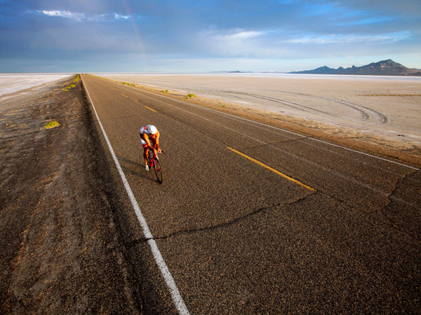 "Fitness When it's just you, the bike, and the road, it's time to go for it,"" says Park City-based triathlete Rob Lea of riding along the salt flats in northwestern Utah"