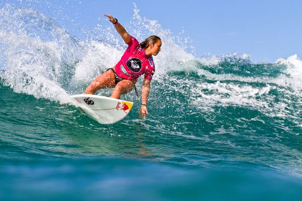 Surf Carissa Moore cuts back at the Quiksilver Pro and Roxy Pro on the Gold Coast, Australia