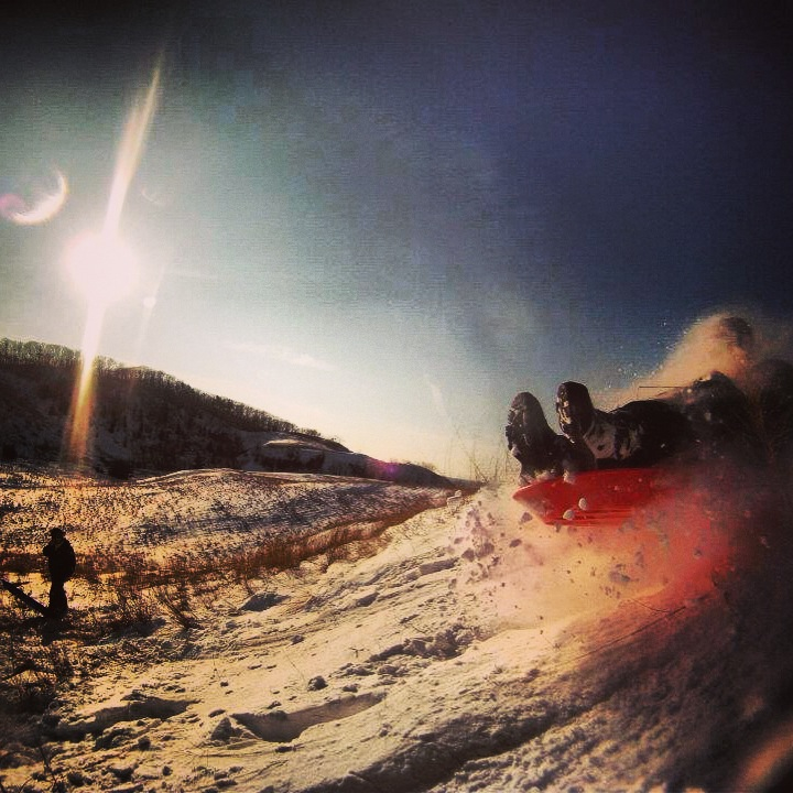 Snowboard epic dune sledding with the GoPro