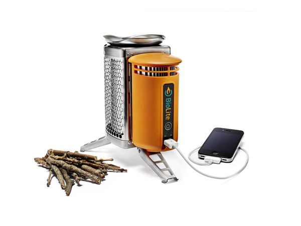 Camp and Hike The BioLite stove burns found fuel—twigs and small bits of wood—and uses the heat to create electricity to charge your electronic devices    $129