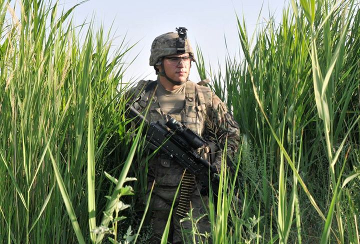 Guns and Military Pfc. Chadallen J. Romero, 4th Battalion, 9th Infantry Regiment (Manchu), conducts a base defense patrol with his unit May 23 in Afghanistan. The unit inspected and repaired base defense obstacles. U.S. Army photo by Staff Sgt. Shane Hamann