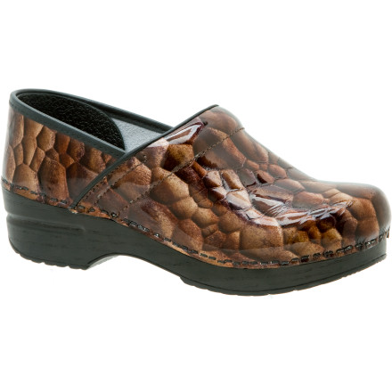 Dansko clog addicts now have a dressy version of their favorite shoethe Womens Professional Patent Clog. Sleek patent leather bumps up the style on Danskos bestseller, which still has all the comfort features youve come to expect, such as a generously padded collar on the instep that wont dig in as you walk. A reinforced toe box adds durability and protects your toes, while a thermoplastic heel counter adds lateral stability. The clogs smooth leather sock lining absorbs perspiration, and the award-winning polypropylene outsole provides all-day comfort and support. - $135.00