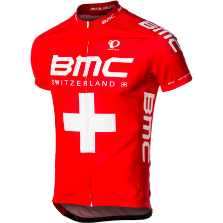 Fitness Supporting the Swiss-flagged BMC squad, Pearl Izumi created a new version of its Elite LTD jersey that pays homage to the pro team's humble European homeland. Fashioned from Pearl Izumi's Elite Transfer fabric in a race-inspired cut, the BMC Swiss Elite LTD Jersey covers your upper half with competition-level technology, in a style that's precisely Swiss. Pearl Izumi constructed the BMC Swiss Elite Jersey out of its lightweight Elite Transfer fabric. This fabric is known for its exceptional moisture management, which works by pulling sweat from your skin to the quick-drying outer surface of the fabric. This results in you staying dry, cool, and fresh throughout your longest rides. This, along with stretchy, Direct-Vent mesh panels under the arms, prevents sweat from accruing at the fiber level. The engineered elasticity in the jersey's fabric panels also allows the Elite to follow your movements in the saddle, meaning that the fit will be free from any bunching, pinching, or chafing while in the cycling position. Additionally, Pearl Izumi knew that you'd be wearing the BMC Swiss Elite Jersey in a variety of conditions, which is why it built the jersey using 'layer-friendly' flatlock stitching throughout. Combined with the anatomic cut and elastic Elite Transfer fabric, the smooth stitching further reduces any friction at the seams. To secure this fit, and to prevent the jersey from migrating, Izumi placed an elasticized gripper along the drop-tail hem. This also prevents the jersey from sagging when its three rear cargo pockets are loaded with your riding essentials. You'll also find a full-length zipper that makes ventilating the jersey a breeze, as well as reflective elements that increase your visibility to motorists in low-light riding conditions. The Pearl Izumi BMC Swiss Elite LTD Jersey is available in the sizes Small to XX-Large and in the Swiss colorway. - $109.95