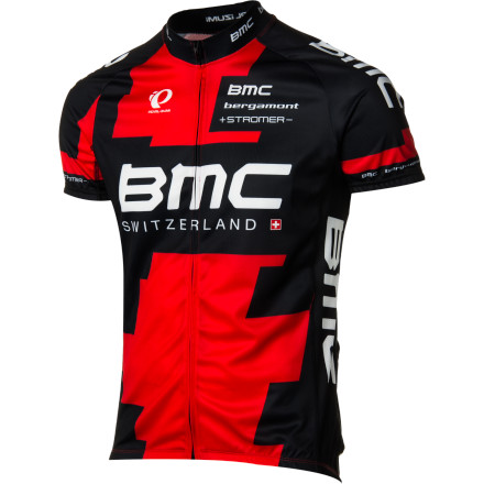 Fitness Supporting the Swiss-flagged BMC squad, Pearl Izumi created a new line of technical apparel specifically for the pro riders. Part of this collection is the new Team Elite LTD Jersey in the BMC team colorway. Fashioned from Pearl Izumi's Elite Transfer fabric in a race-inspired cut, the BMC Team Elite LTD Jersey covers your upper half with competition-level technology, using classic Pearl Izumi styling. Pearl Izumi constructed the BMC Team Elite Jersey out of its lightweight Elite Transfer fabric. This fabric is known for its exceptional moisture management, which works by pulling sweat from your skin to the quick-drying outer surface of the fabric. This results in you staying dry, cool, and fresh throughout your longest rides. This, along with stretchy, Direct-Vent mesh panels under the arms, prevents sweat from accruing at the fiber level. The engineered elasticity in the jersey's fabric panels also allows the Elite to follow your movements in the saddle, meaning that the fit will be free from any bunching, pinching, or chafing while in the cycling position. Additionally, Pearl Izumi knew that you'd be wearing the BMC Team Elite Jersey in a variety of conditions, which is why it built the jersey using 'layer-friendly' flatlock stitching throughout. Combined with the anatomic cut and elastic Elite Transfer fabric, the smooth stitching further reduces any friction at the seams. To secure this fit, and to prevent the jersey from migrating, Izumi placed an elasticized gripper along the drop-tail hem. This also prevents the jersey from sagging when its three rear cargo pockets are loaded with your riding essentials. You'll also find a full-length zipper that makes ventilating the jersey a breeze, as well as reflective elements that increase your visibility to motorists in low-light riding conditions. The Pearl Izumi BMC Team Elite LTD Jersey is available in the sizes Small to XX-Large and in the Team colorway. - $109.95