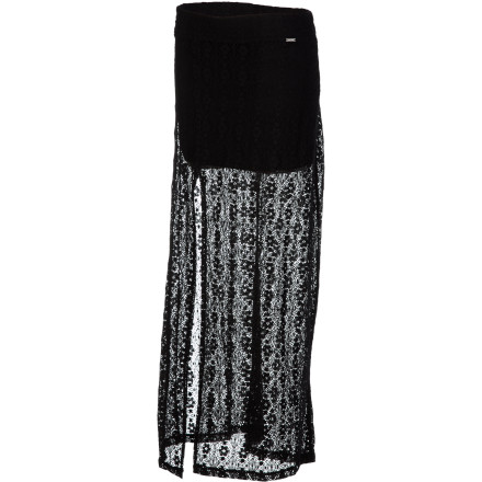 Surf The sexy, side-slit Volcom Women's Night Sky Skirt lets you show off those tan legs in elegant style. A built-in mini lining provides coverage while a sheer crochet maxi gives you a sophisticated yet casual look. The deep side slit also allows plenty of mobility, the key to summer fun. - $49.45