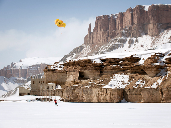 Extreme Libecki was the first to go kite skiing across the lakes of Band-e-Amir, Afghanistan's first and only national park