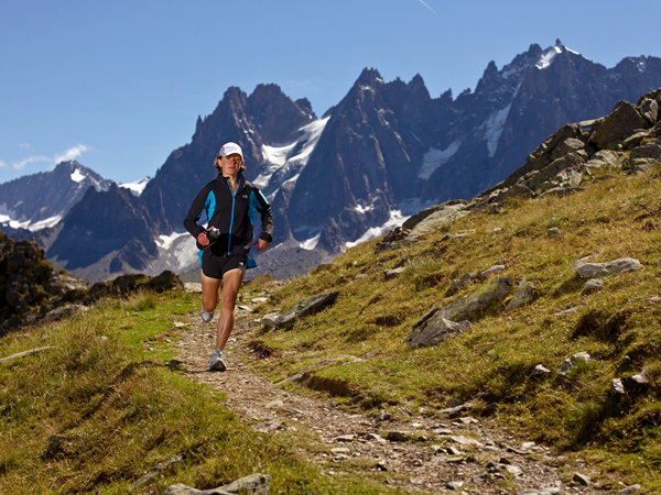 Fitness Champion trail ultrarunner Lizzy Hawker is seen running through the mountains surrounding Chamonix, France, days before running—and winning—the Ultra-Trail du Mont-Blanc for the fifth time, a feat no man or woman has accomplished before.